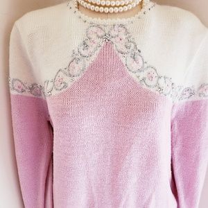 JACLYN SMITH VINTAGE PRETTY PEARL PINK SWEATER